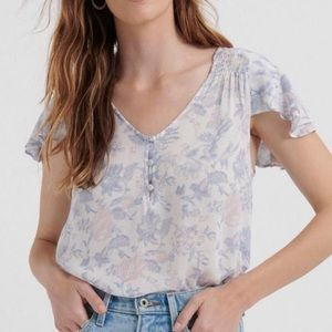 Lucky Brand Smocked Short Flutter Sleeve Top XL